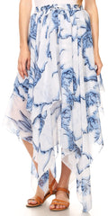 Sakkas Aina Cascading Handkerchief Dance Maxi Skirt with Adjustable Elastic Waist#color_white/blue-clouds