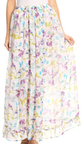 Sakkas Blasia Maxi Folk Peasant Dance Flowy Light Long Skirt Gorgeous#color_Floral/purple