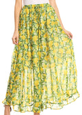 Sakkas Blasia Maxi Folk Peasant Dance Flowy Light Long Skirt Gorgeous#color_Lemon/yellow