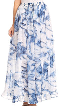 Sakkas Blasia Maxi Folk Peasant Dance Flowy Light Long Skirt Gorgeous#color_Watercolor/blue