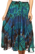 Sakkas Justina Womens Dance Midi Full Circle Tie-dye Skirt with Elastic Waist #color_Blue
