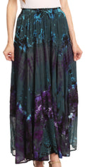 Sakkas Ester Womens Simple  Boho Maxi Full circle Tie-dye Skirt with Elastic Waist#color_Gray
