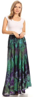 Sakkas Ester Womens Simple  Boho Maxi Full circle Tie-dye Skirt with Elastic Waist