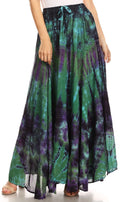 Sakkas Ester Womens Simple  Boho Maxi Full circle Tie-dye Skirt with Elastic Waist#color_Green