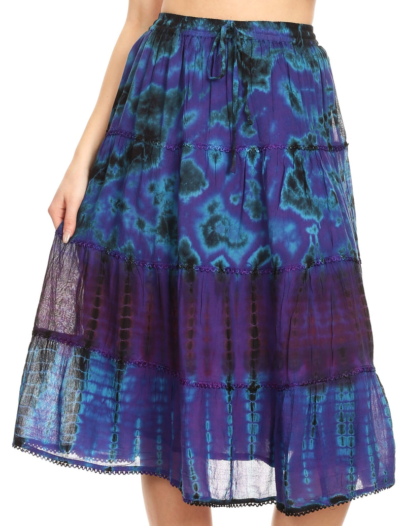 Sakkas Antonia Women's Skirt Tie Dye Boho Elastic Waist Adjustable Embroidery