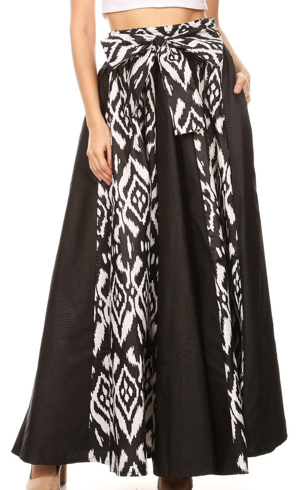 Sakkas Vero Women's  Maxi Color Block Long Skirt African Ankara Print with Pockets#color_111-Black/white