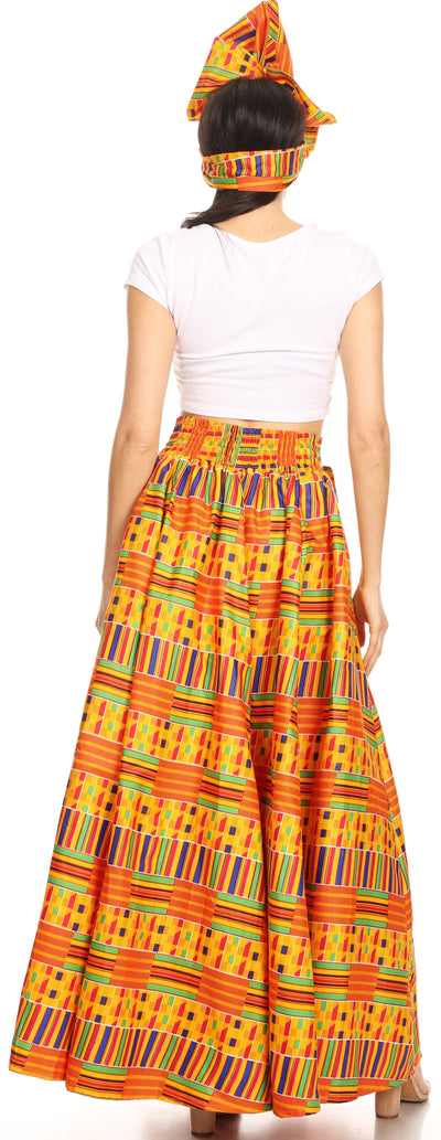 group-1065-orange/blue-tribal (Sakkas Ami Women's Maxi Long African Ankara Print Skirt Pockets & Elastic Waist)