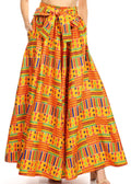 Sakkas Ami Women's Maxi Long African Ankara Print Skirt Pockets & Elastic Waist#color_1065-orange/blue-tribal
