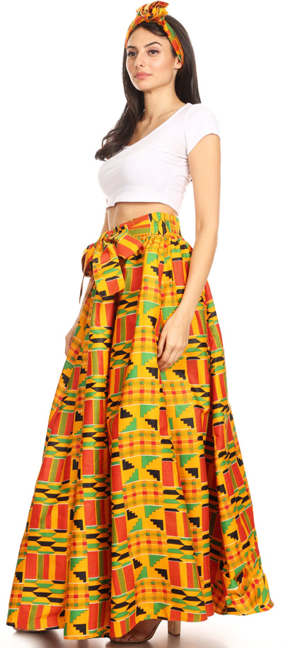 group-1066-Orange/black-tribal (Sakkas Ami Women's Maxi Long African Ankara Print Skirt Pockets & Elastic Waist)