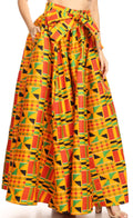 Sakkas Ami Women's Maxi Long African Ankara Print Skirt Pockets & Elastic Waist#color_1066-Orange/black-tribal