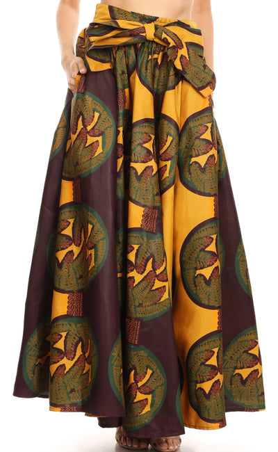 group-1079-BrownBeige (Sakkas Ami Women's Maxi Long African Ankara Print Skirt Pockets & Elastic Waist)