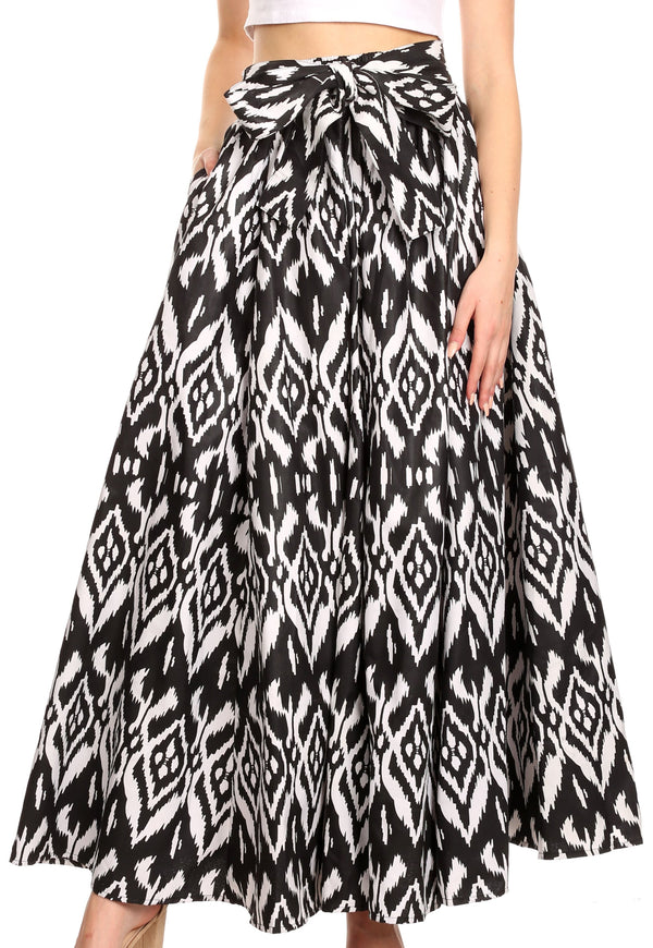 Sakkas Ami Women's Maxi Long African Ankara Print Skirt Pockets & Elastic Waist#color_111-Black/white