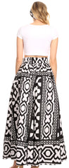 group-112-BlackWhiteMulti (Sakkas Ami Women's Maxi Long African Ankara Print Skirt Pockets & Elastic Waist)