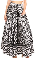 Sakkas Ami Women's Maxi Long African Ankara Print Skirt Pockets & Elastic Waist#color_112-BlackWhiteMulti