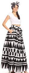 group-113-blackwhite (Sakkas Ami Women's Maxi Long African Ankara Print Skirt Pockets & Elastic Waist)