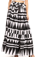 Sakkas Ami Women's Maxi Long African Ankara Print Skirt Pockets & Elastic Waist#color_113-blackwhite