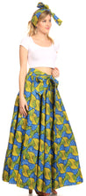 group-115-BlueYellowMulti (Sakkas Ami Women's Maxi Long African Ankara Print Skirt Pockets & Elastic Waist)