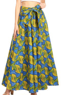 Sakkas Ami Women's Maxi Long African Ankara Print Skirt Pockets & Elastic Waist#color_115-BlueYellowMulti