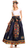 group-123-Navy/multi (Sakkas Ami Women's Maxi Long African Ankara Print Skirt Pockets & Elastic Waist)