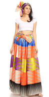 group-125-Multi (Sakkas Ami Women's Maxi Long African Ankara Print Skirt Pockets & Elastic Waist)