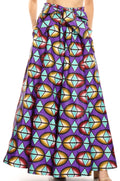 Sakkas Ami Women's Maxi Long African Ankara Print Skirt Pockets & Elastic Waist#color_126-PurpleAqua