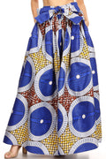 Sakkas Ami Women's Maxi Long African Ankara Print Skirt Pockets & Elastic Waist#color_127-BlueMulti