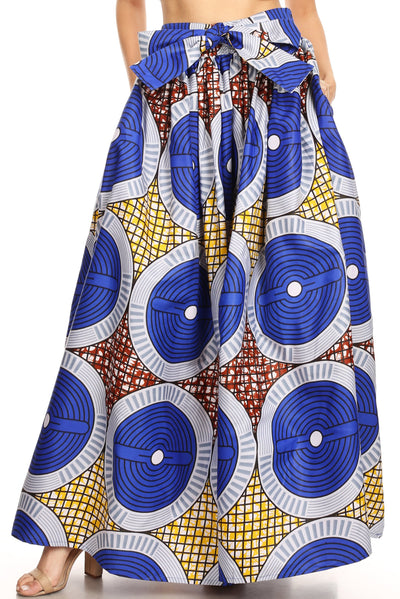 group-127-BlueMulti (Sakkas Ami Women's Maxi Long African Ankara Print Skirt Pockets & Elastic Waist)