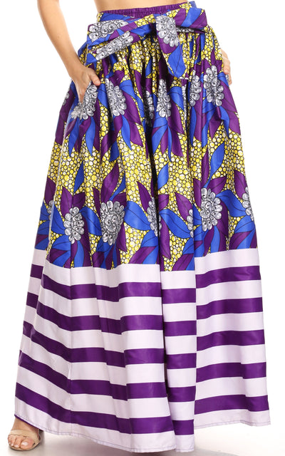 group-128-RoyalYellow (Sakkas Ami Women's Maxi Long African Ankara Print Skirt Pockets & Elastic Waist)