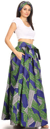 group-129-BlueGreen (Sakkas Ami Women's Maxi Long African Ankara Print Skirt Pockets & Elastic Waist)