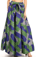Sakkas Ami Women's Maxi Long African Ankara Print Skirt Pockets & Elastic Waist#color_129-BlueGreen