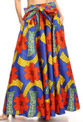 Sakkas Ami Women's Maxi Long African Ankara Print Skirt Pockets & Elastic Waist#color_130-RoyalMulti