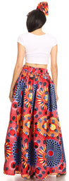 group-131-RedMulti (Sakkas Ami Women's Maxi Long African Ankara Print Skirt Pockets & Elastic Waist)
