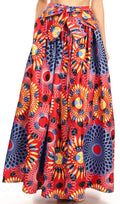 Sakkas Ami Women's Maxi Long African Ankara Print Skirt Pockets & Elastic Waist#color_131-RedMulti