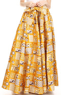 Sakkas Ami Women's Maxi Long African Ankara Print Skirt Pockets & Elastic Waist#color_132-GoldMulti