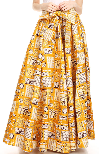 group-132-GoldMulti (Sakkas Ami Women's Maxi Long African Ankara Print Skirt Pockets & Elastic Waist)