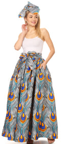 Sakkas Ami Women's Maxi Long African Ankara Print Skirt Pockets & Elastic Waist#color_133-GrayBlue