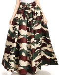 Sakkas Ami Women's Maxi Long African Ankara Print Skirt Pockets & Elastic Waist#color_135-Camo