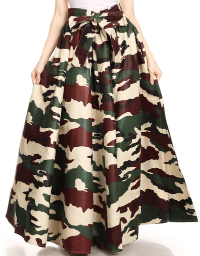 group-135-Camo (Sakkas Ami Women's Maxi Long African Ankara Print Skirt Pockets & Elastic Waist)