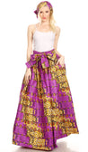 group-136-PurpleWhite (Sakkas Ami Women's Maxi Long African Ankara Print Skirt Pockets & Elastic Waist)