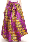Sakkas Ami Women's Maxi Long African Ankara Print Skirt Pockets & Elastic Waist#color_136-PurpleWhite