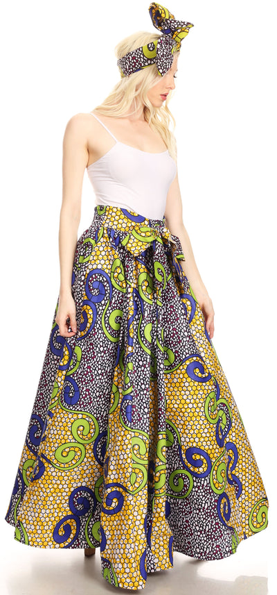 group-137-YellowMulti (Sakkas Ami Women's Maxi Long African Ankara Print Skirt Pockets & Elastic Waist)