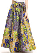 Sakkas Ami Women's Maxi Long African Ankara Print Skirt Pockets & Elastic Waist#color_137-YellowMulti