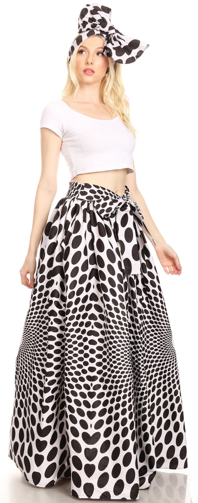 group-138-WhiteMulti (Sakkas Ami Women's Maxi Long African Ankara Print Skirt Pockets & Elastic Waist)