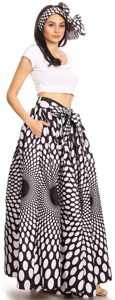 group-139-BlackMulti (Sakkas Ami Women's Maxi Long African Ankara Print Skirt Pockets & Elastic Waist)