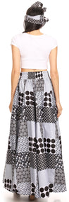group-140-BlackBlueMulti (Sakkas Ami Women's Maxi Long African Ankara Print Skirt Pockets & Elastic Waist)