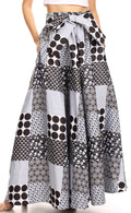 Sakkas Ami Women's Maxi Long African Ankara Print Skirt Pockets & Elastic Waist#color_140-BlackBlueMulti