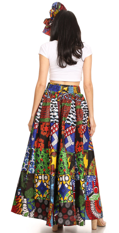 group-144-Multi (Sakkas Ami Women's Maxi Long African Ankara Print Skirt Pockets & Elastic Waist)