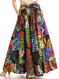 Sakkas Ami Women's Maxi Long African Ankara Print Skirt Pockets & Elastic Waist#color_144-Multi