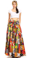 group-146-Multi (Sakkas Ami Women's Maxi Long African Ankara Print Skirt Pockets & Elastic Waist)