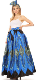 Sakkas Ami Women's Maxi Long African Ankara Print Skirt Pockets & Elastic Waist#color_149-BlueTurquoise